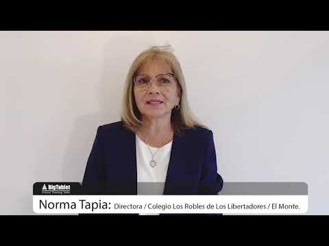 Big tablet, testimonio Sra Norma Tapia, Directora, Colegio Los Robles de Los Libertadores