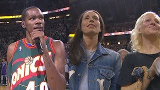 Kevin Durant Makes The Crowd GO CRAZY in Seattle Supersonics Return! Warriors vs Kings