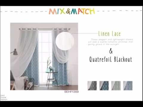 Best Home Fashion - Mix and Match Curtains (Faux Sheer Linen & Quatrefoil Blackout)