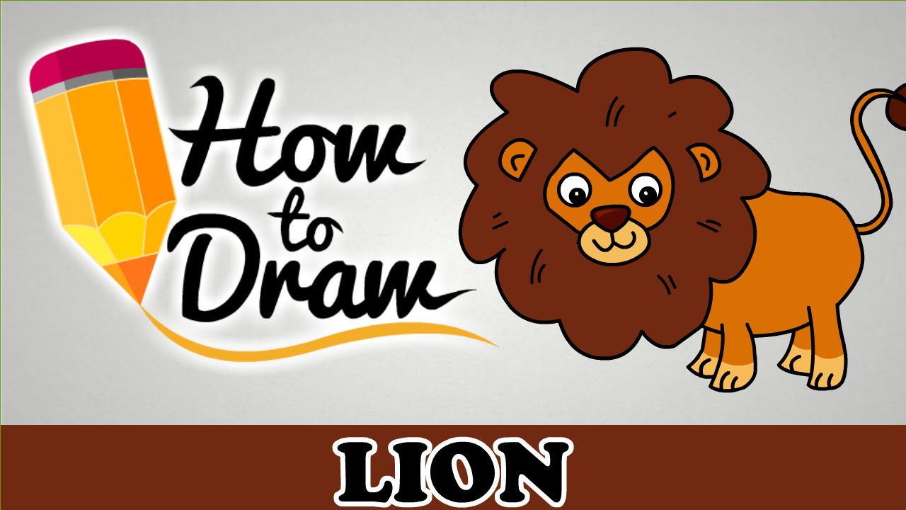 How To Draw A Lion - Easy Step By Step Cartoon Art Drawing Lesson ... for Angry Lion Animation  54lyp