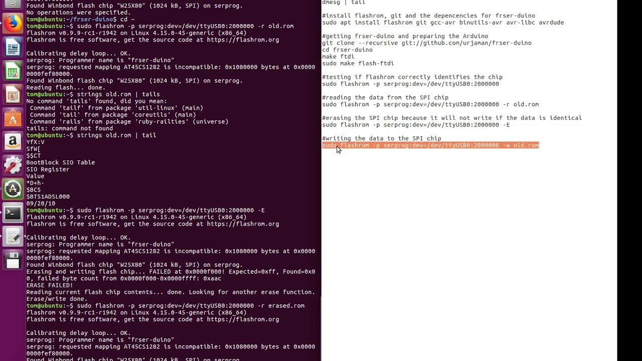 Flashing SPI (bios) chip using Arduino