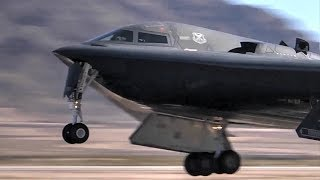 Front Row View Of B-2 Spirit Stealth Bombers Taxi, Takeoff.