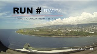 Landing at the REUNION Island - Roland Garros airport - (RUN/FMEE) France - Cockpit view