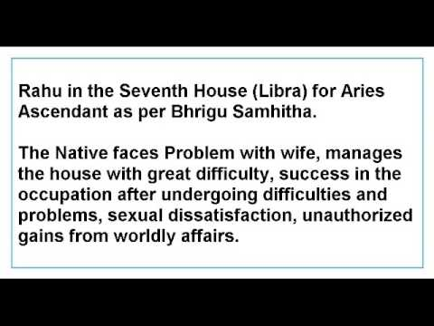 Rahu in the Seventh House for Aries Ascendant as per Bhrigu