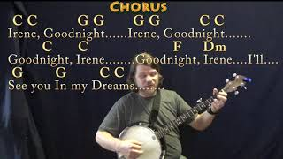 Goodnight, Irene (Traditional) Banjo Cover Lesson in C with Chords/Lyrics
