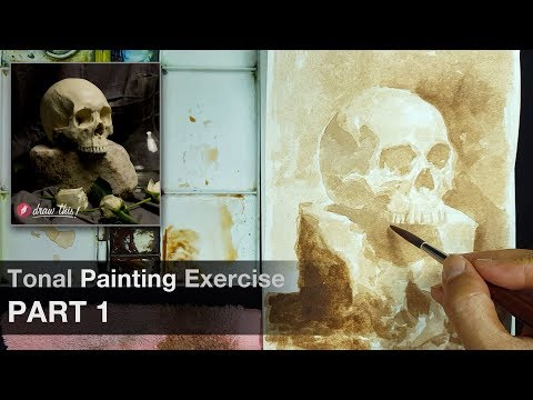 Tonal Painting (Burnt Umber) Exercise - Part 1