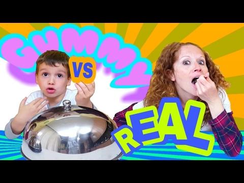RETO real food vs gummy food  con juegos y juguetes de Ares challenge