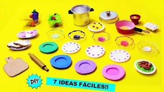 7 IDEAS FÁCILES Y RÁPIDAS Como Hacer Accesorios de COCINA en Miniatura para Muñecas Barbie!!🍳🍲🍽️🥘
