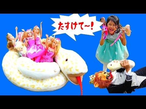 【寸劇】バービープリンセスたちとお茶会中に・・・!王子助けて!!バービープリンセス・ツイストスタイルプリンセス・レインボーマーメイド himawari-CH