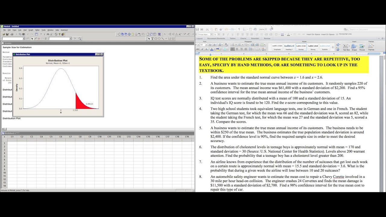 Z Score From Normal Curve Data Minitab Vs Statcrunch Sample Size, Mean, Standard  Deviation