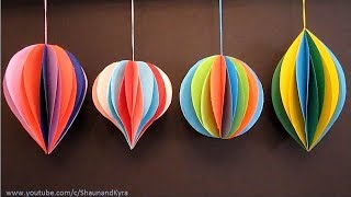 3D Paper Ornaments | Holiday Decorations | DIY Winter Decor | Crafts For Kids