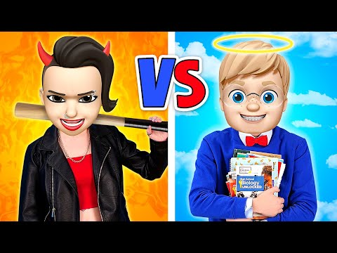 GOOD STUDENT VS BAD STUDENT || Fun Challenge At School For 24 Hours Hot VS Cold Emoji By 123 GO!BOYS