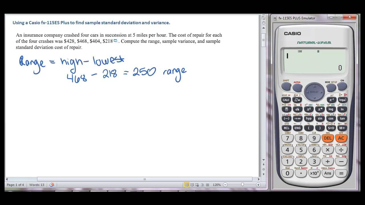 Using Casio Fx115es To Find Sample Standard Deviation