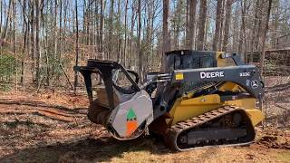 Land Clearing with John Deere 333G w/ FAE Forestry Mulcher  Denver NC / Aplus Lawn care, Gastonia NC