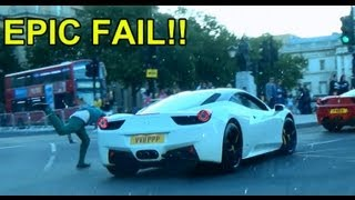 EPIC FAIL - drunk dude runs with cars and trips over!!