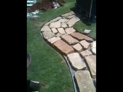 Flagstone/crushed granite walkway pt5 - YouTube