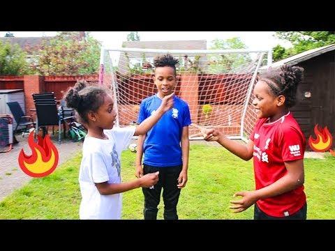 Twin vs Twin Girls Football Penalty Challenge!