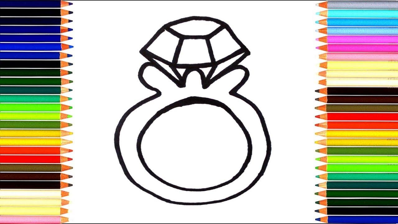как нарисовать кольцо мультик раскраска колечко для детей учим цвета
