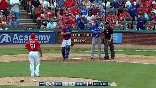 TOR@TEX: Bautista plunked by Bush in the 8th