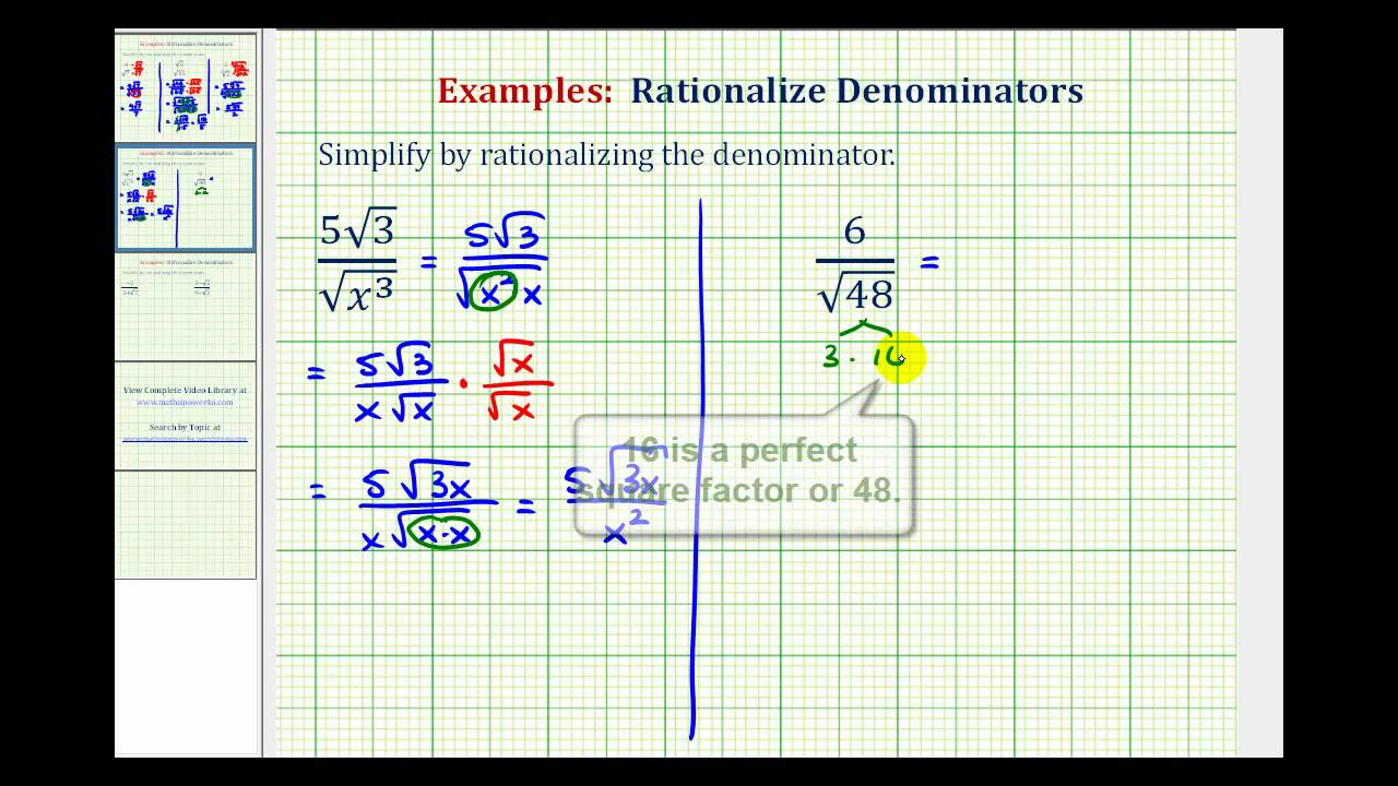 Ex 2 Rationalize The Denominator Of A Radical Expression