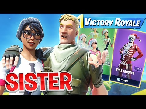 BUYING SISTER SKINS IF SHE WINS A GAME OF FORTNITE (CHRISTMAS PRESENT)