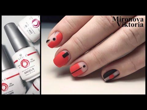 Геометрия на красных ногтях