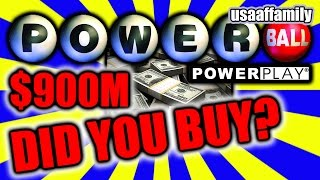 DID YOU BUY A POWERBALL TICKET? $900M PRIZE! - January 9, 2016 - usaaffamily vlog