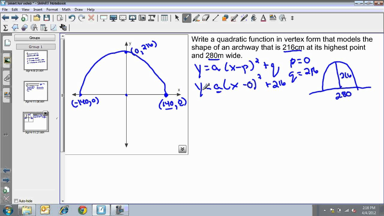 Writing an equation in vertex form word problem youtube writing an equation in vertex form word problem falaconquin