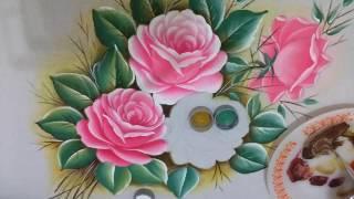 Rosas: ensinando a pintar a folhas PT1
