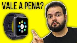 Smartwatch GT08 Unboxing Review Portugues - WhatsApp? É bom? iPhone? - Smartwatch GT08
