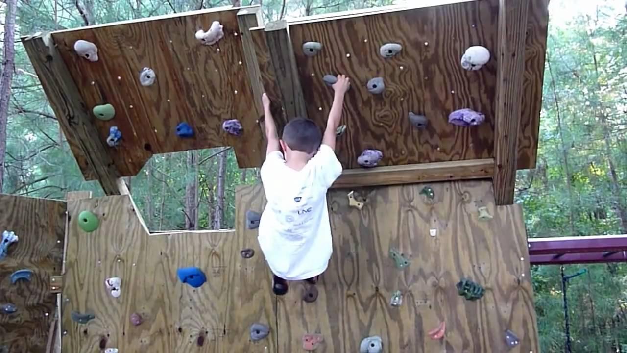 5 year old climber on the new Backyard Climbing Wall ...