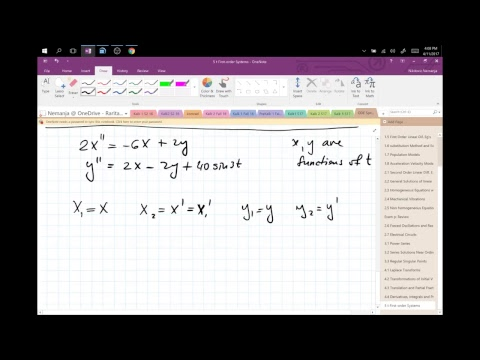 Nik's Live Calculus Stream (DiffEq 5.1 First-Order Systems)