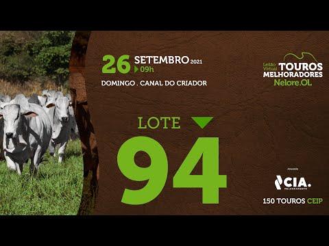 LOTE 94 - LEILÃO VIRTUAL DE TOUROS 2021 NELORE OL - CEIP