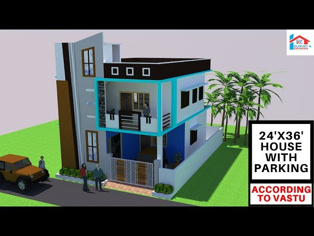 [#17] 24x36 Modern East Facing House With Car Parking || RK Survey & Design