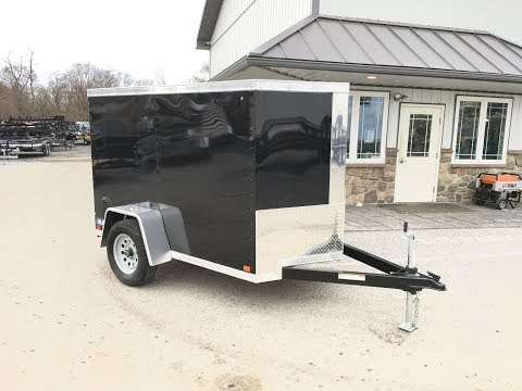 Sure Trac STW Enclosed Cargo Trailer 5x8' 2990# GVW V-Nose Ramp  Black  STW6008SA