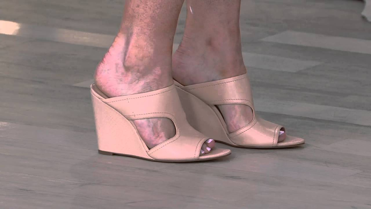 H By Halston Open Toe Cut Out Leather Mules Holly On Qvc