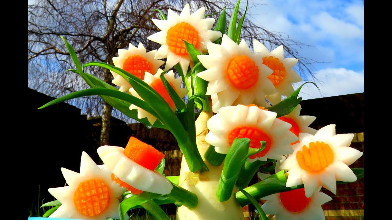 How to make carrot radish flowers vegetable carving