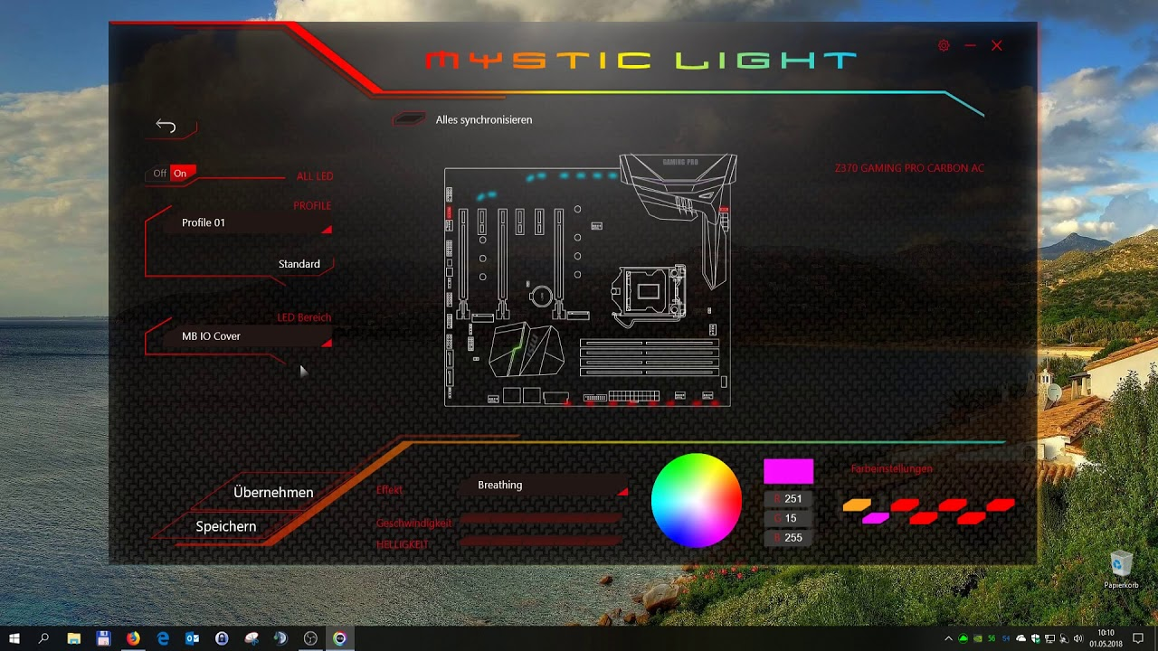 MSI Mystic Light individuell Einstellen