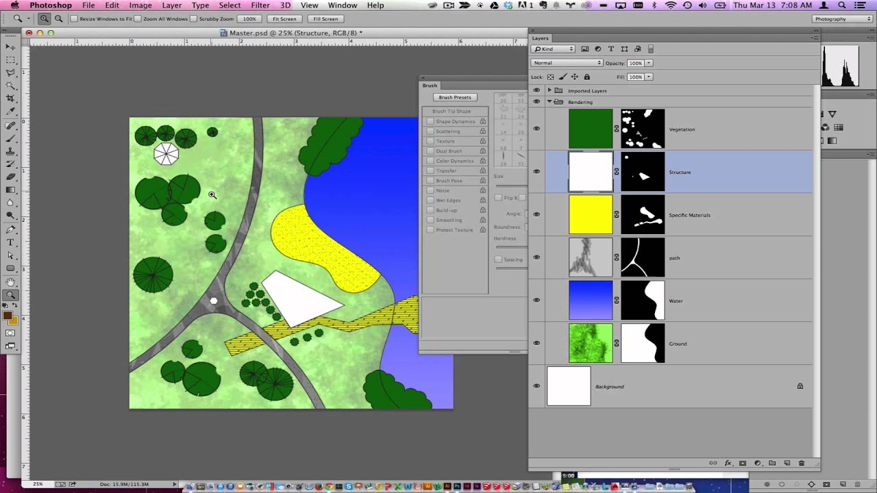 Quick plan painting rendering in photoshop youtube for Site plan rendering software
