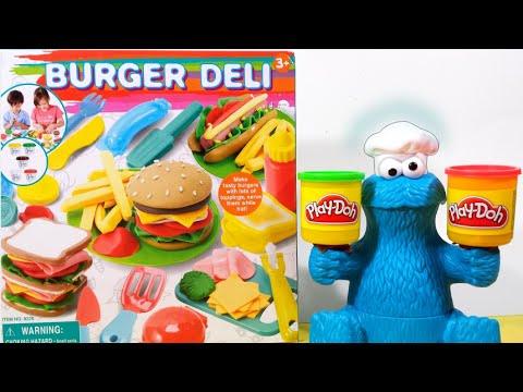 play-doh-chef-cookie-monster-&-deli-burger-playset-disney-frozen-elsa-customer