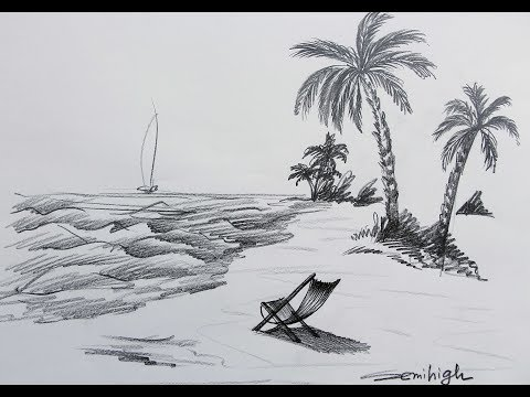How to draw A Real Beach Scenery | Pencil Sketch thumbnail