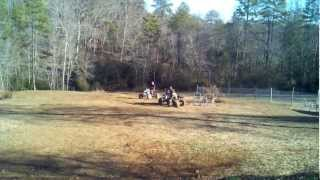 Honda 400ex and a  Kfx 450 r playin in the yard