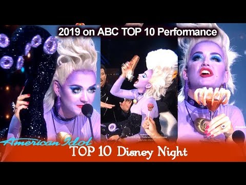 Katy Perry FUNNY SCENES As Ursula Plays With Her Tentacles  | American Idol 2019 Top 10 Disney Night