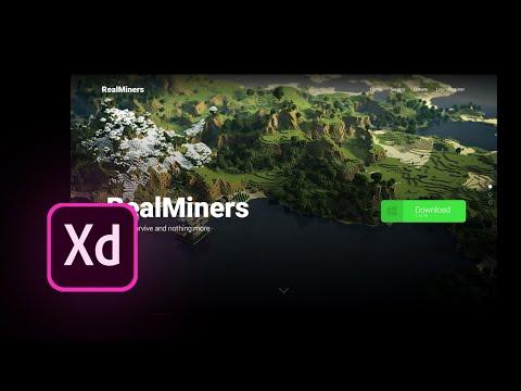 Speed Art - Adobe XD Free Parallax Minecraft Website Design.