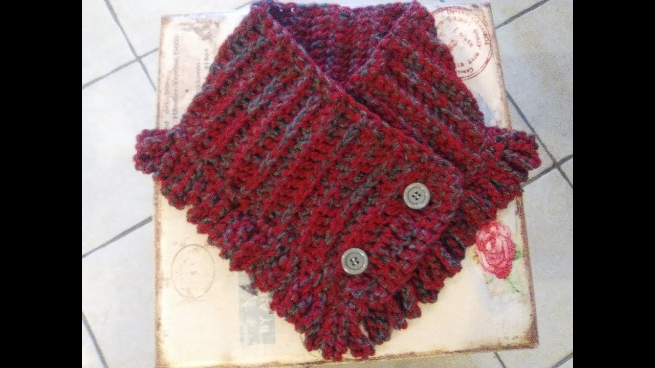 Crochet Cowl Neck Warmer With Chain Fringe Tutorial Youtube