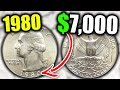 1980 QUARTERS WORTH MONEY - RARE QUARTER COINS TO LOOK FOR IN POCKET CHANGE!!