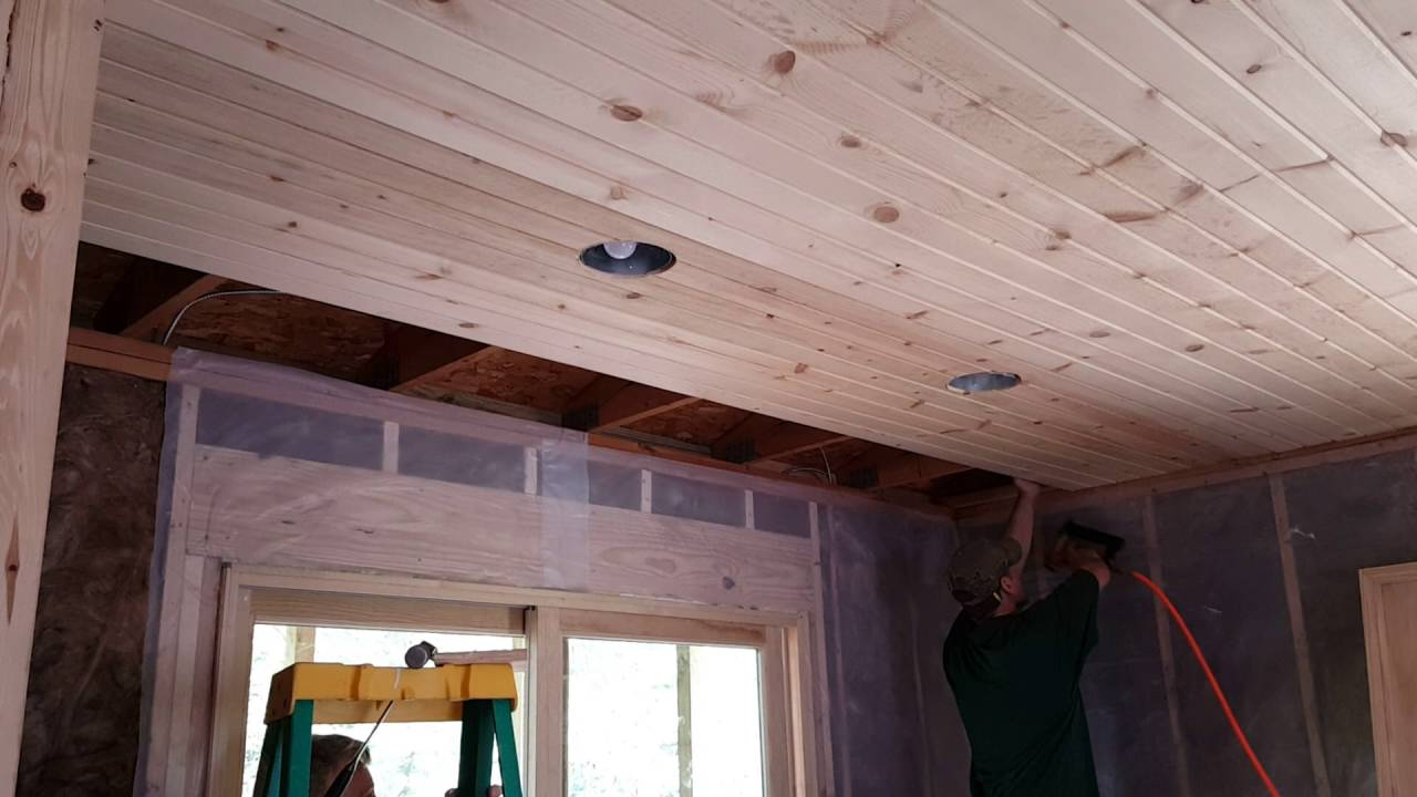 2016 09 23 Cabin 41 Car Siding Installation On The Ceiling Youtube