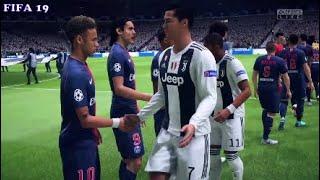 Ronaldo and Neymar Shake Hands Before thier Friendly! | Juventus vs. Paris | FIFA 19 Highlights