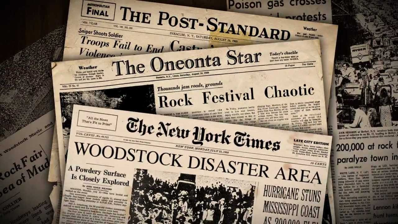 Spinning Newspaper Videoclip for Woodstock the Story YouTube – Newspaper