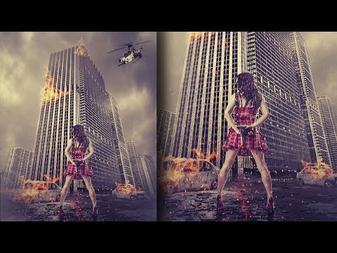 Action movie poster look photo manipulation | photoshop tutorial